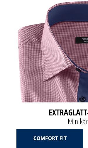 Extraglatt-Hemd Kent Comfort Fit, Minikaro Beere | Walbusch