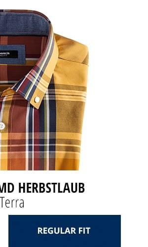 Extraglatt-Hemd Herbstlaub - Karo Terra, Regular Fit   Walbusch