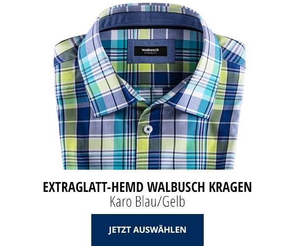 Extraglatt Hemd Walbusch-Kragen Karo Blau/Gelb | Walbusch