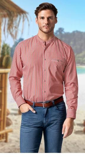 Stehkragen-Hemd Orange kariert | Walbusch