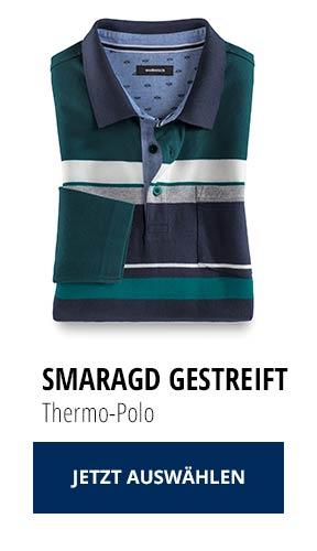 Jetzt testen: 2 Thermo-Polos nur € 79,90: Smaragd Gestreift   Walbusch