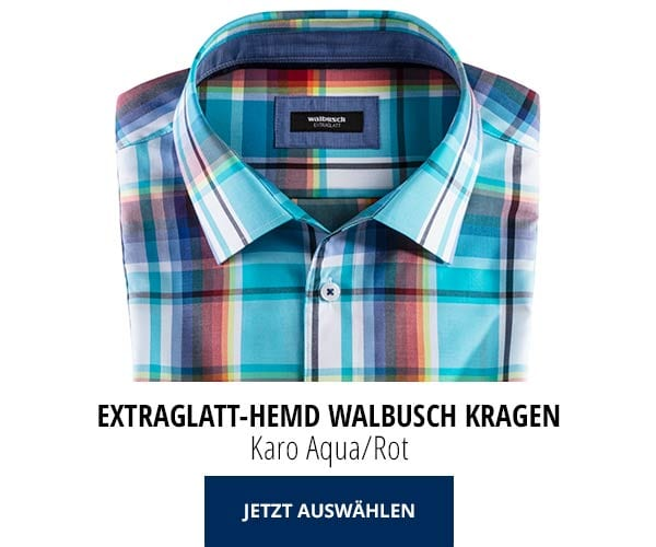 Extraglatt-Hemd Walbusch-Kragen Karo Aqua/Rot | Walbusch
