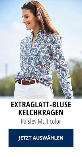 Extraglatt-Bluse Kelchkragen Paisley Multicolor | Walbusch