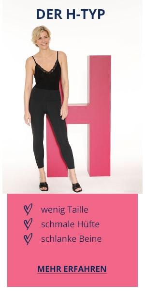 Der H-Typ: wenig Taille, schmale Hüfte, schlanke Beine