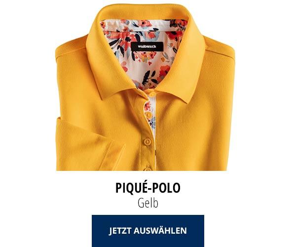 Piqué-Polo Sommer-Cotton Gelb | Walbusch