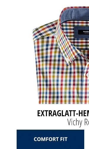 Extraglatt-Hemd Herbstlaub - Vichy Rot/Blau, Comfort Fit   Walbusch
