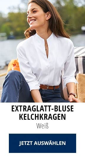 Extraglatt-Bluse Kelchkragen Weiß | Walbusch
