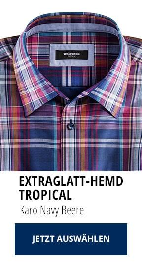 Extraglatt-Hemd Tropical Karo Navy Beere   Walbusch