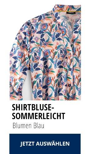 Shirtbluse Sommerleicht Blumen Blau | Walbusch