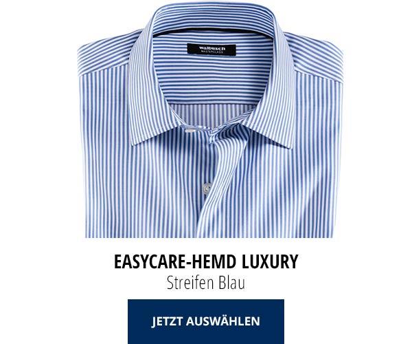 Easycare-Hemd Luxury - Streifen Blau