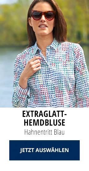 Extraglatt-Hemdbluse Hahnentritt Blau | Walbusch