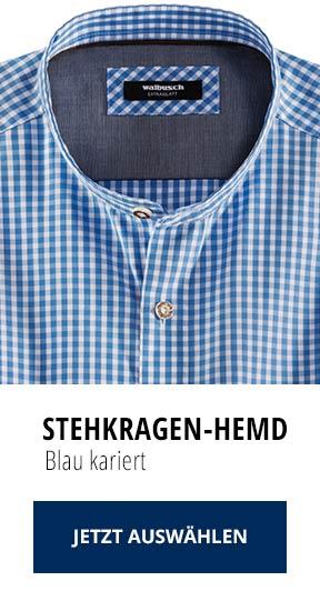 Stehkragen-Hemd Blau kariert | Walbusch