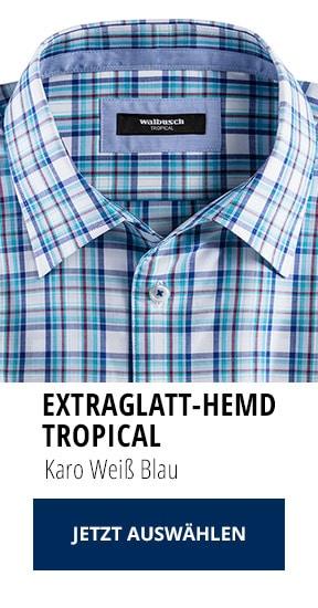 Extraglatt-Hemd Tropical Karo Weiß Blau   Walbusch