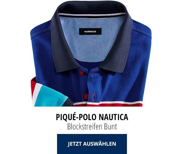 Piqué-Polo Nautica Blockstreifen Bunt | Walbusch