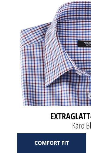 Extraglatt-Hemd Kent Comfort Fit, Karo Blau/Rot | Walbusch