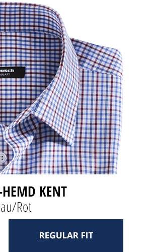 Extraglatt-Hemd Kent Regular Fit, Karo Blau/Rot | Walbusch