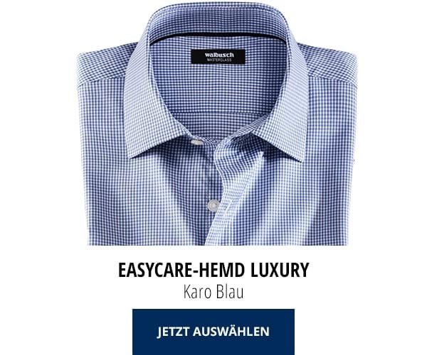 Easycare-Hemd Luxury - Karo Blau