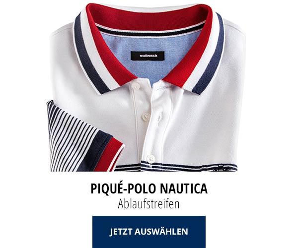Piqué-Polo Nautica Ablaufstreifen | Walbusch