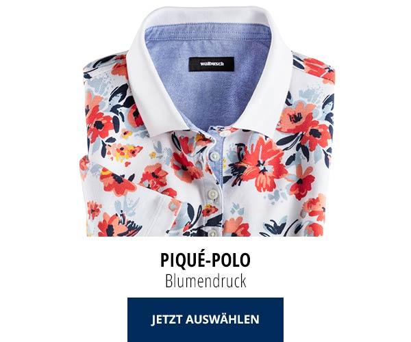 Piqué-Polo Sommer-Cotton Blumendruck | Walbusch