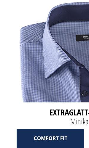 Extraglatt-Hemd Kent Comfort Fit, Minikaro Blau | Walbusch