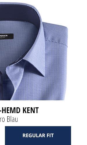 Extraglatt-Hemd Kent Regular Fit, Minikaro Blau | Walbusch
