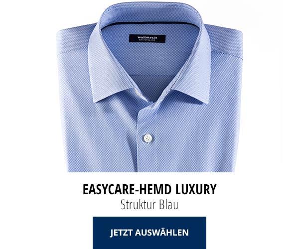 Easycare-Hemd Luxury - Struktur Blau