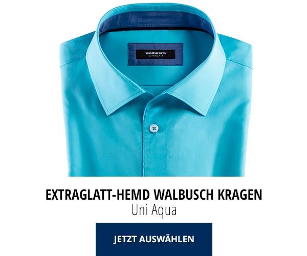 Extraglatt-Hemd Walbusch-Kragen Uni Aqua | Walbusch