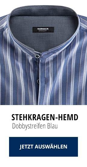 Stehkragen-Hemd Dobbystreifen Blau | Walbusch