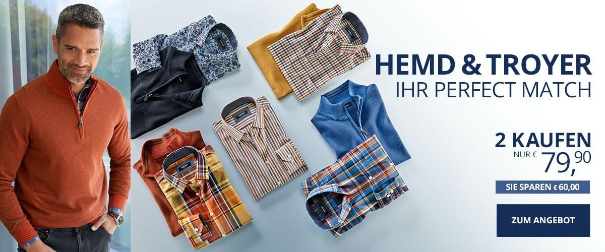 Herr Perfect Match Pullover + Hemd   Walbusch
