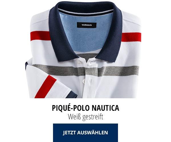 Piqué-Polo Nautica Weiß gestreift | Walbusch