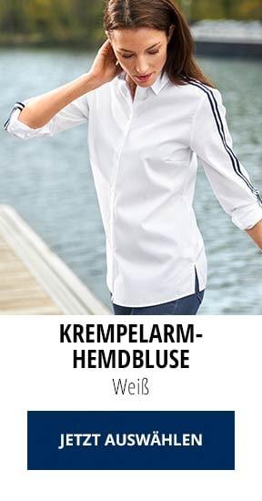 Krempelarm-Hemdbluse Weiß | Walbusch