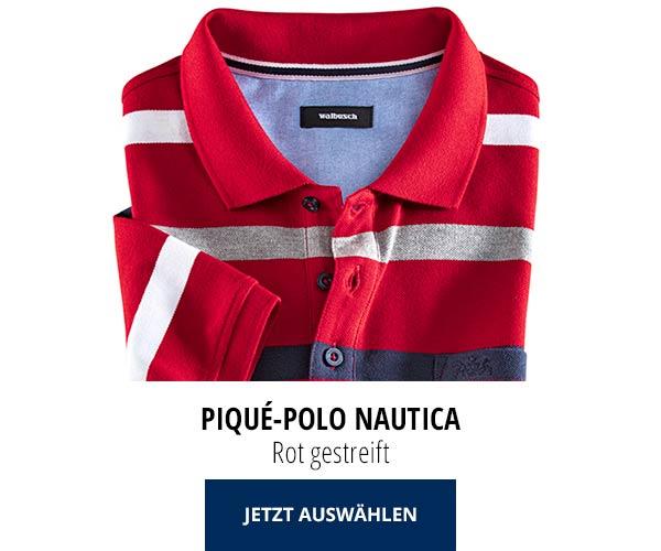 Piqué-Polo Nautica Rot gestreift | Walbusch