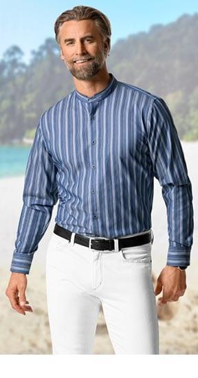 Stehkragen-Hemden Dobbystreifen Blau | Walbusch
