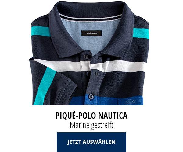 Piqué-Polo Nautica Marine gestreift | Walbusch