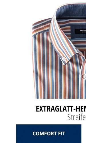 Extraglatt-Hemd Herbstlaub - Streifen Blau, Comfort Fit   Walbusch