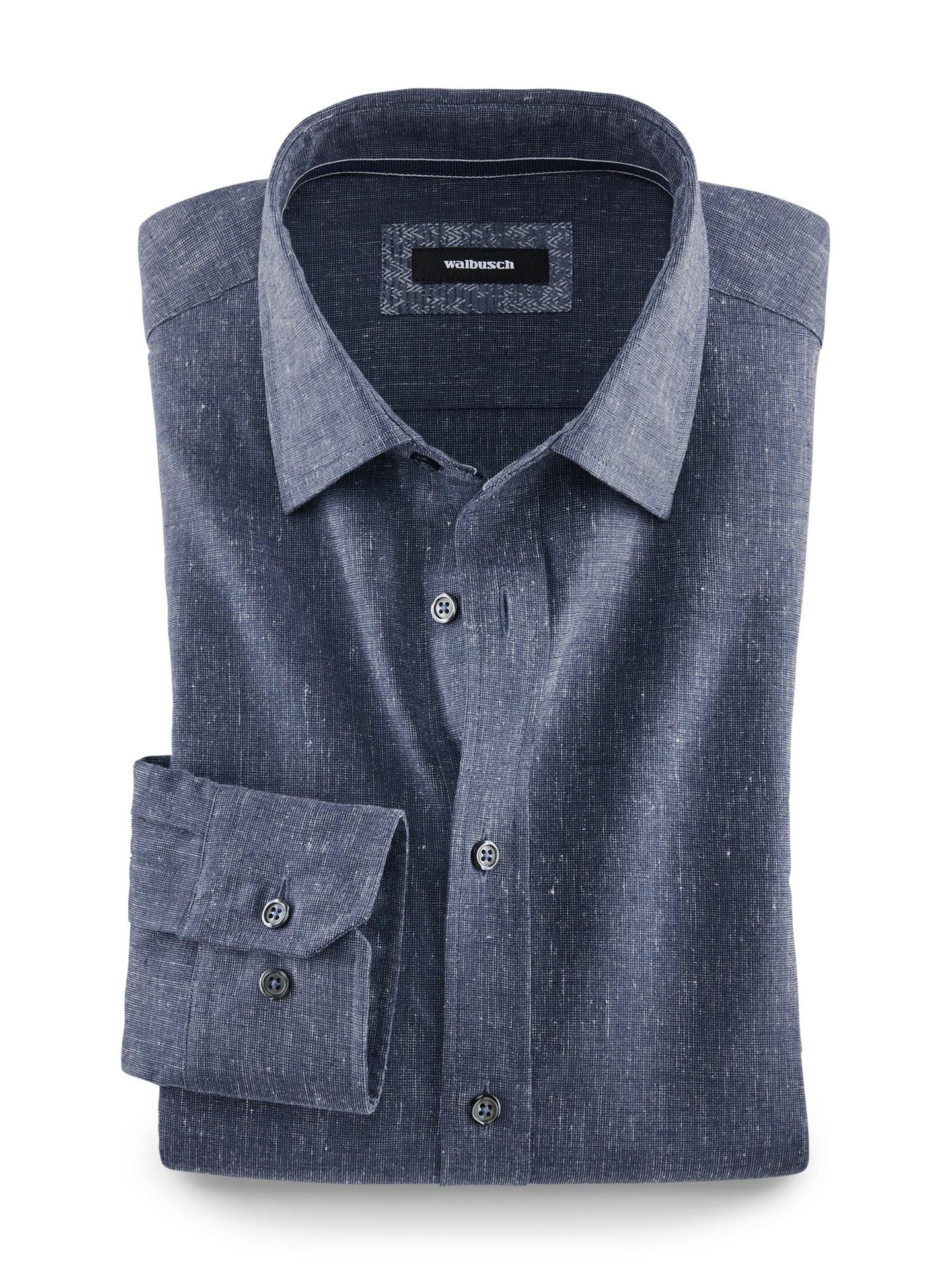 Walbusch Herren 25 Grad-Leinenhemd Größe 47/48 - Langarm extra kurz
