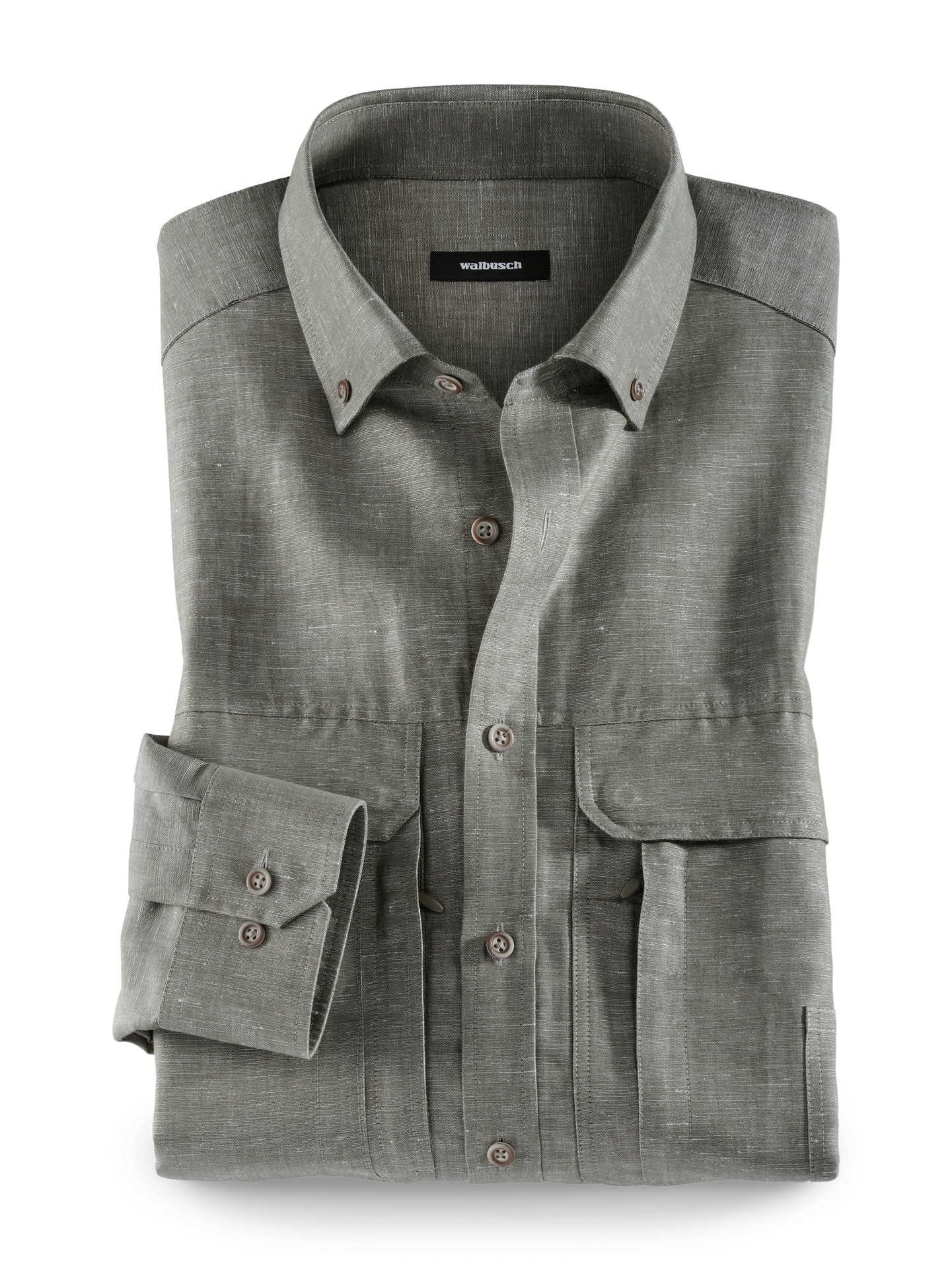 Walbusch Herren 10-Taschen-Safarihemd Größe 47/48 - Langarm