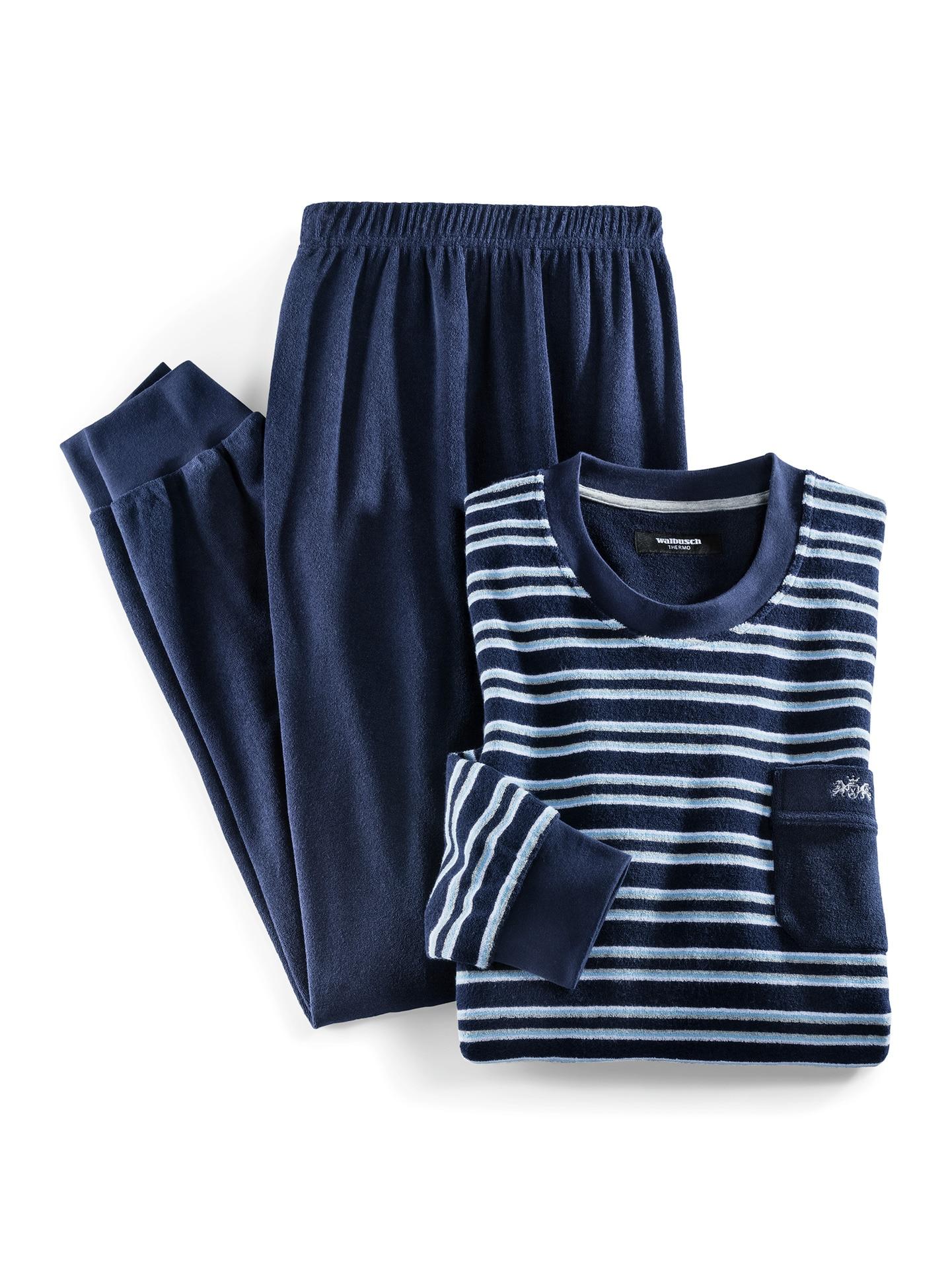 Walbusch Herren Pyjama Thermo Blau gestreift wärmend 48, 50, 52, 54, 56, 58/60, 62/64 22-0638-7_MV8880