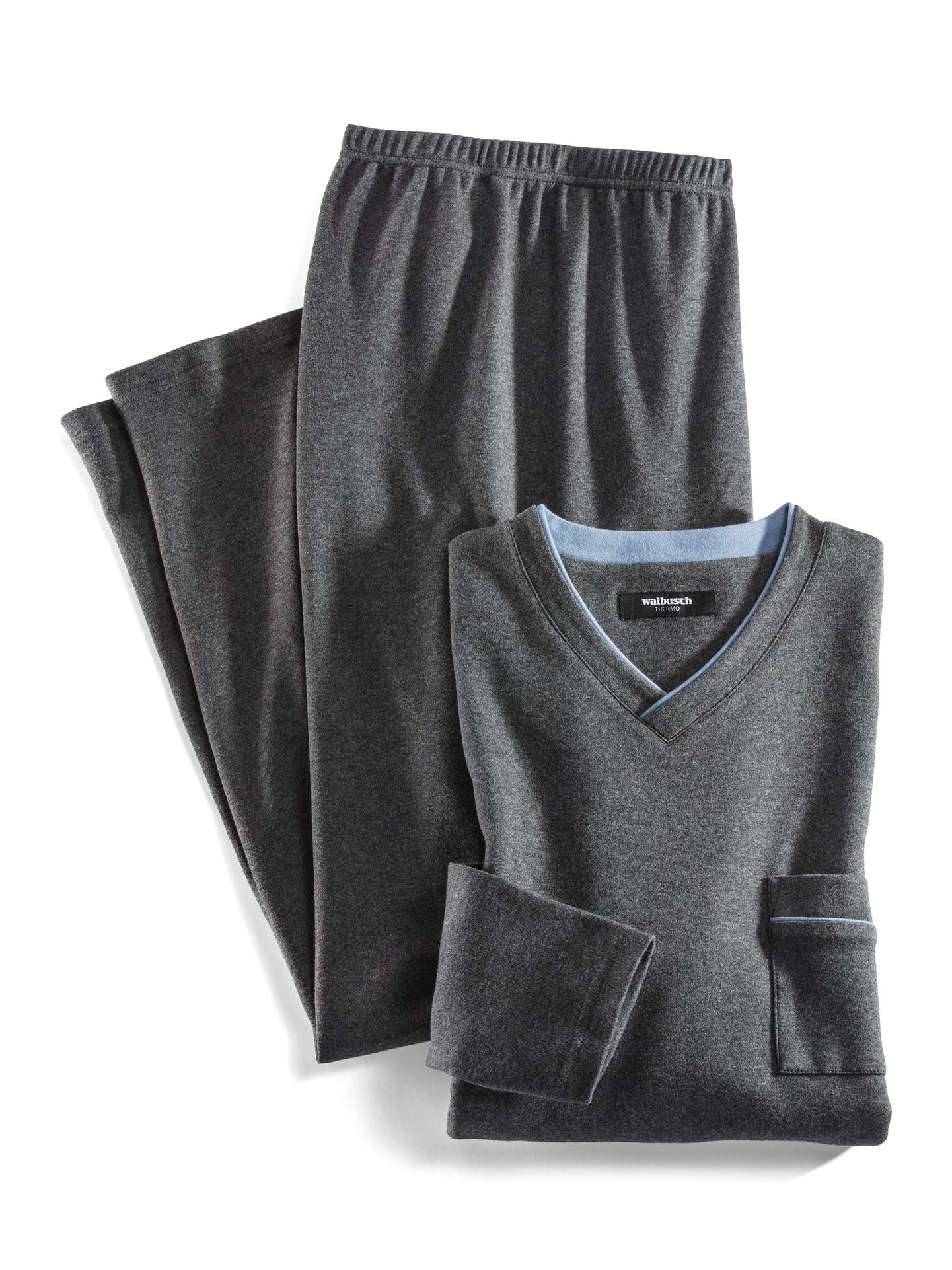 Walbusch Herren Pyjama Thermo Grau einfarbig wärmend 48, 50, 52, 54, 56, 58/60, 62/64 22-1498-6_MV8880