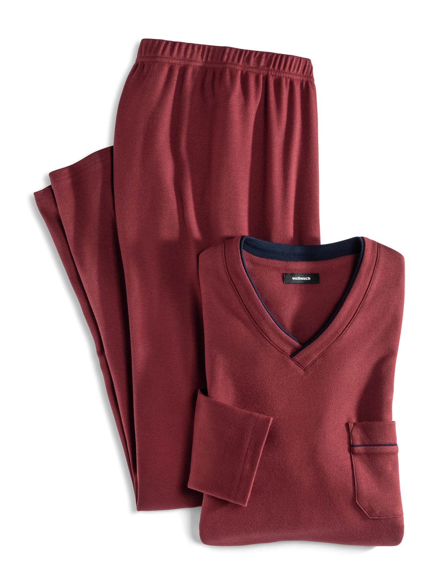 Walbusch Herren Pyjama Rot einfarbig Easycare wärmend 48, 50, 52, 54, 56, 58/60, 62/64 22-1599-0_MV8880