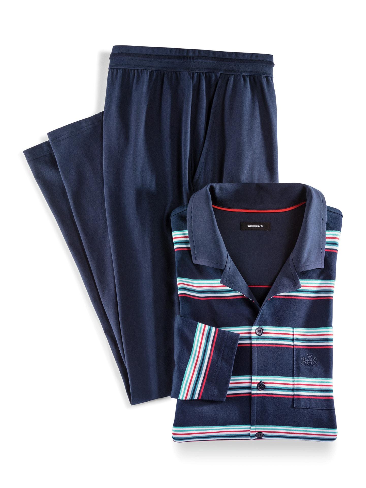 Walbusch Herren Streifen Pyjama Bottone gemustert Marine 48, 50, 52, 54, 56, 58/60, 62/64 22-1755-0