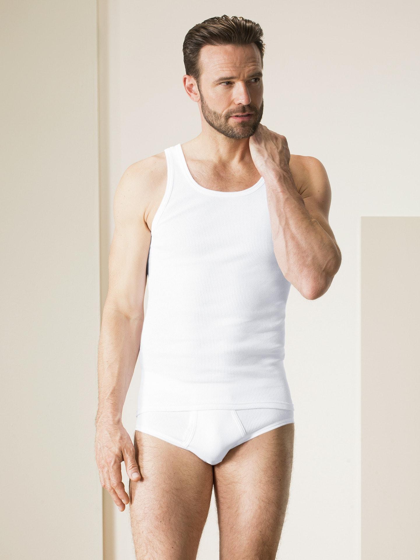 Walbusch Herren Hemd Doppelripp Unterhemd 2er Pack einfarbig Weiß 10, 5, 6, 7, 8, 9 22-2365-0