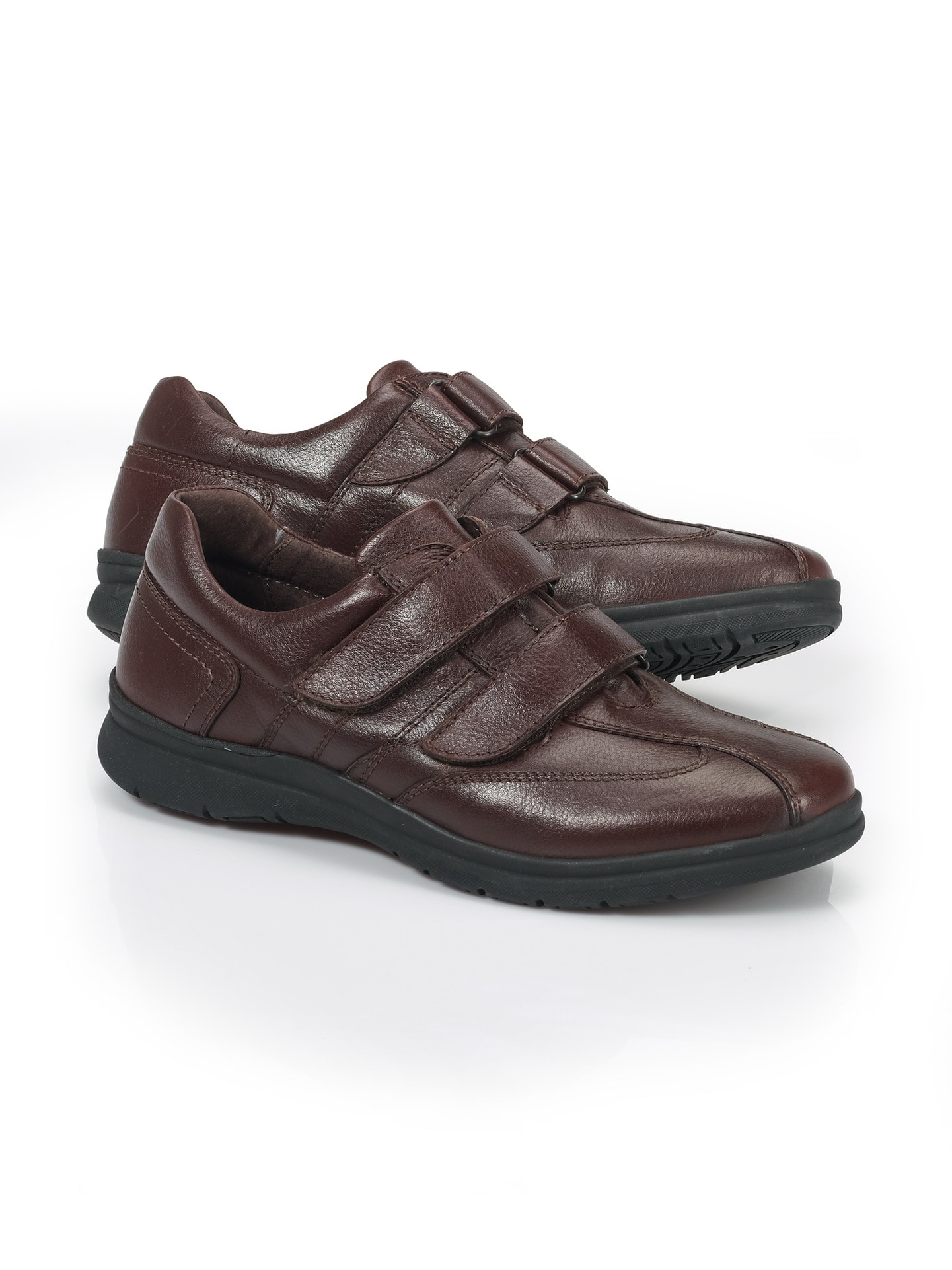 Walbusch Herren Doppel Klett-Schuh Braun Größe 46