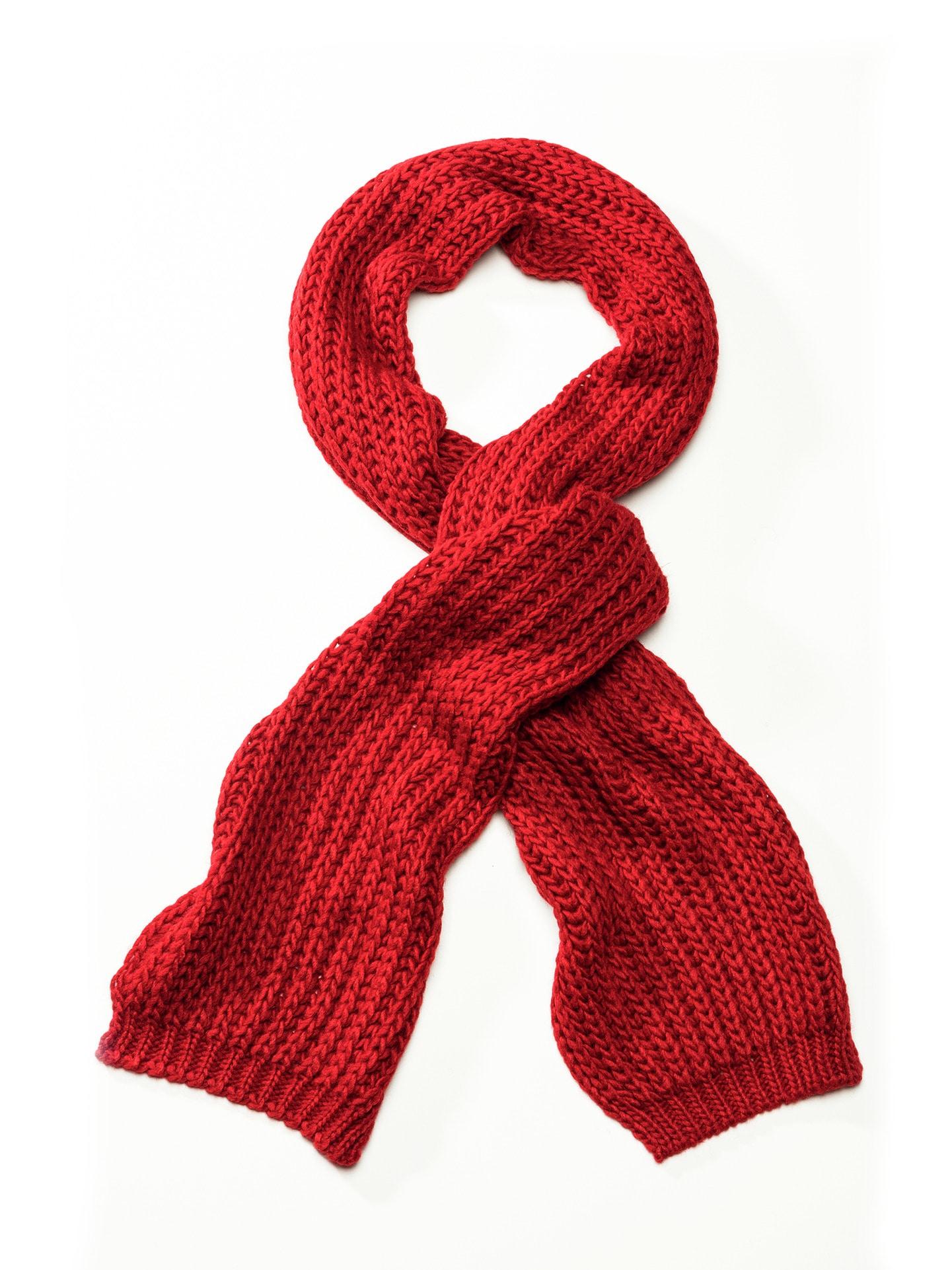 Walbusch Herren Strickschal einfarbig Rot 01 29-1296-1