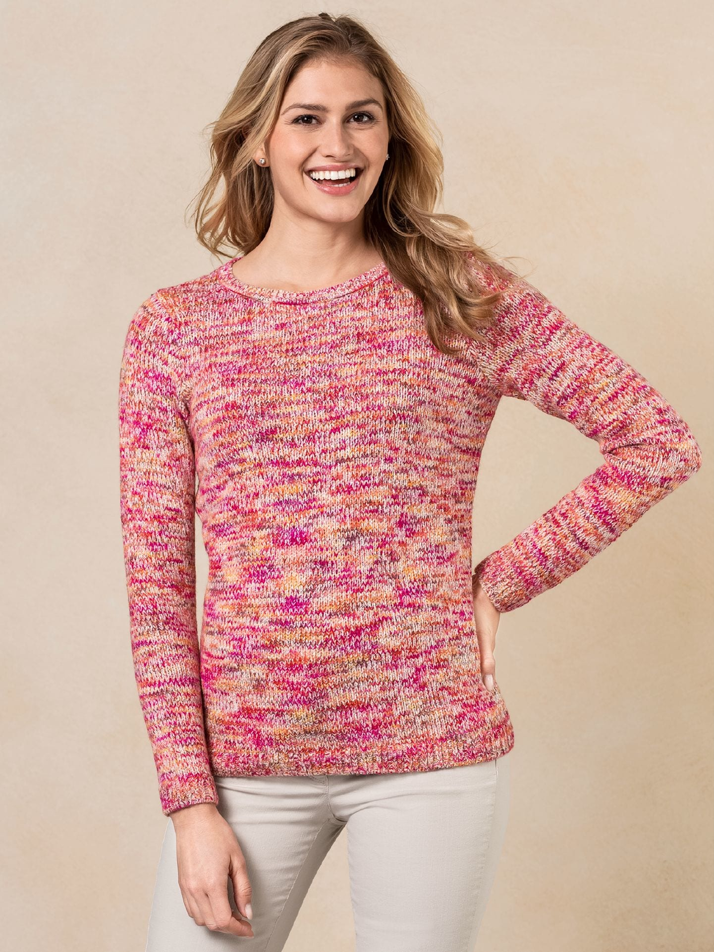 Walbusch Damen Sommer Alpaka Pullover in normalen Größen gemustert Pink gemustert 36, 38, 40, 42, 44, 46, 48