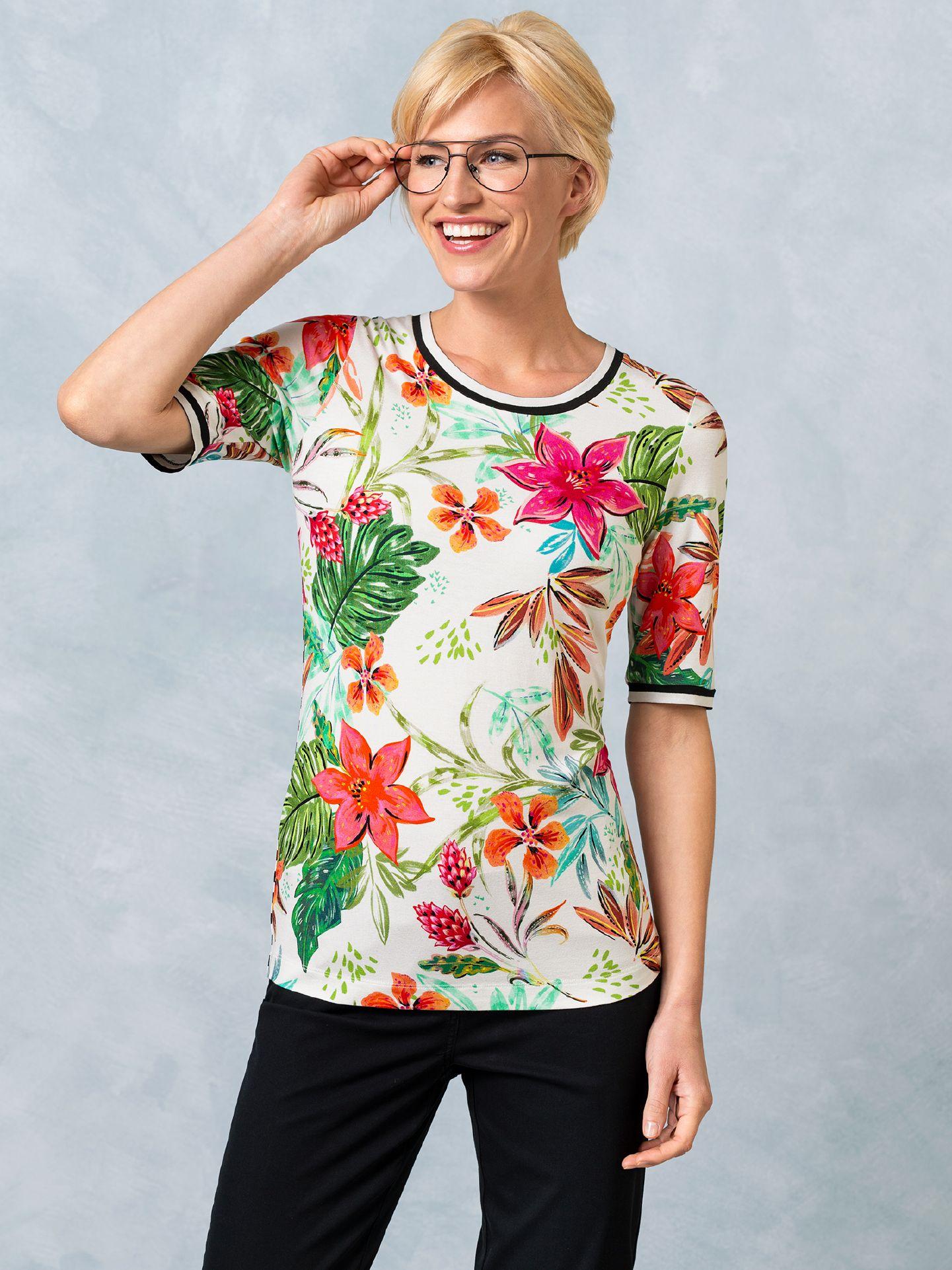 Walbusch Damen Shirt Costa Rica in normalen Größen gemustert Weiß gemustert 36, 38, 40, 42, 44, 46, 48/50, 52/54