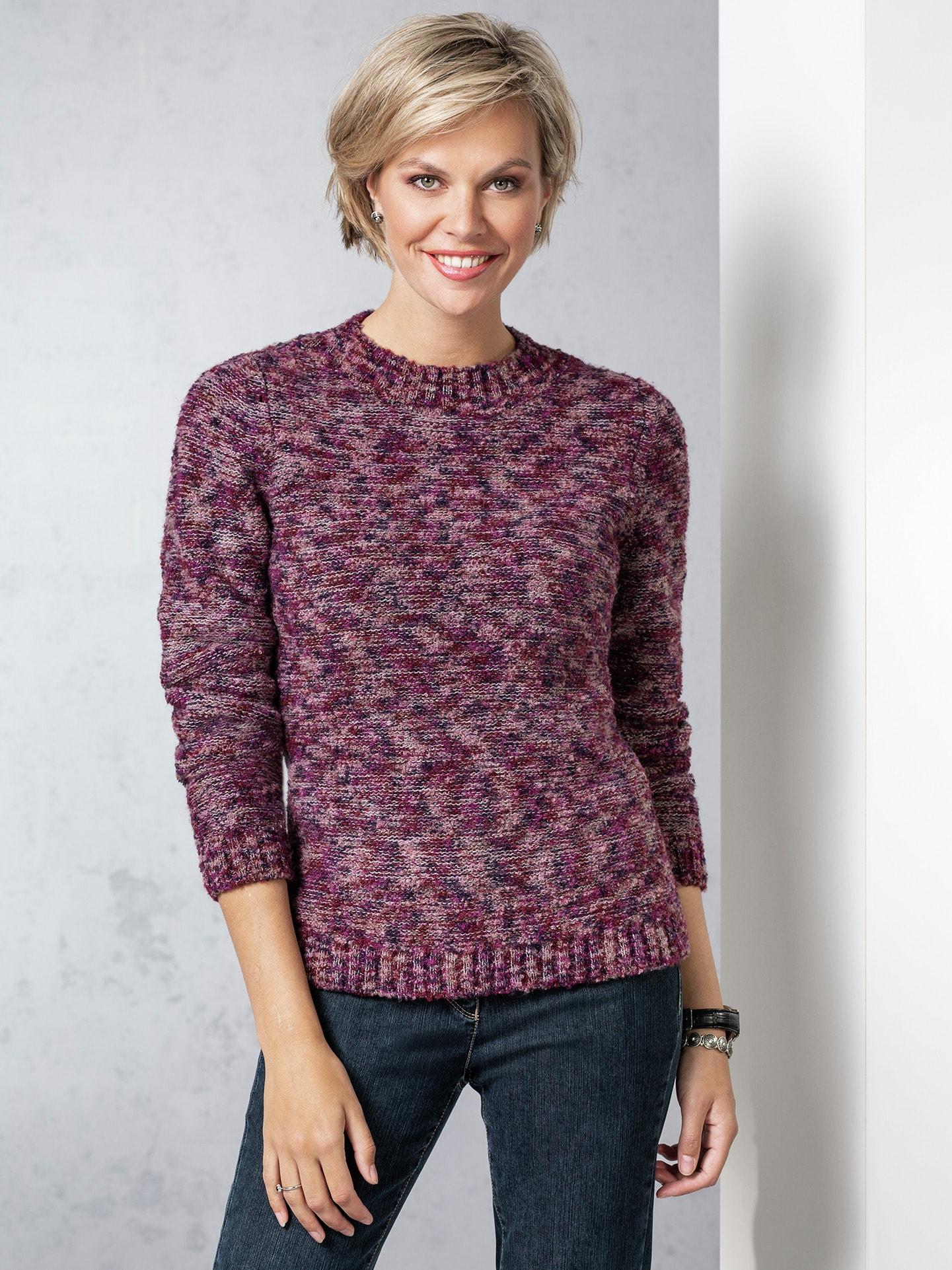 Walbusch Damen Soft Boucle Pullover einfarbig Beere 36, 38, 40, 42, 44, 46, 48, 50, 52 43-3220-4