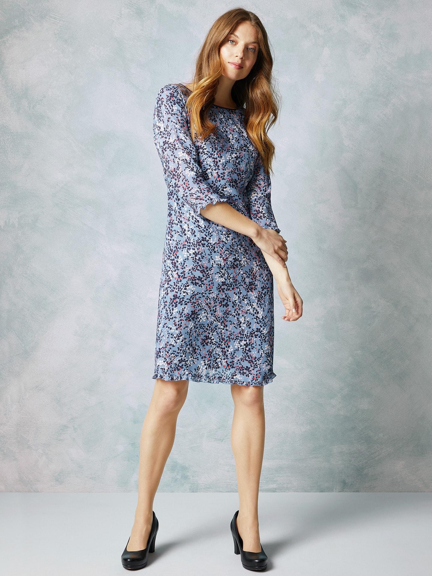 Walbusch Damen Crepe-Kleid Flowers Blau Größe 38