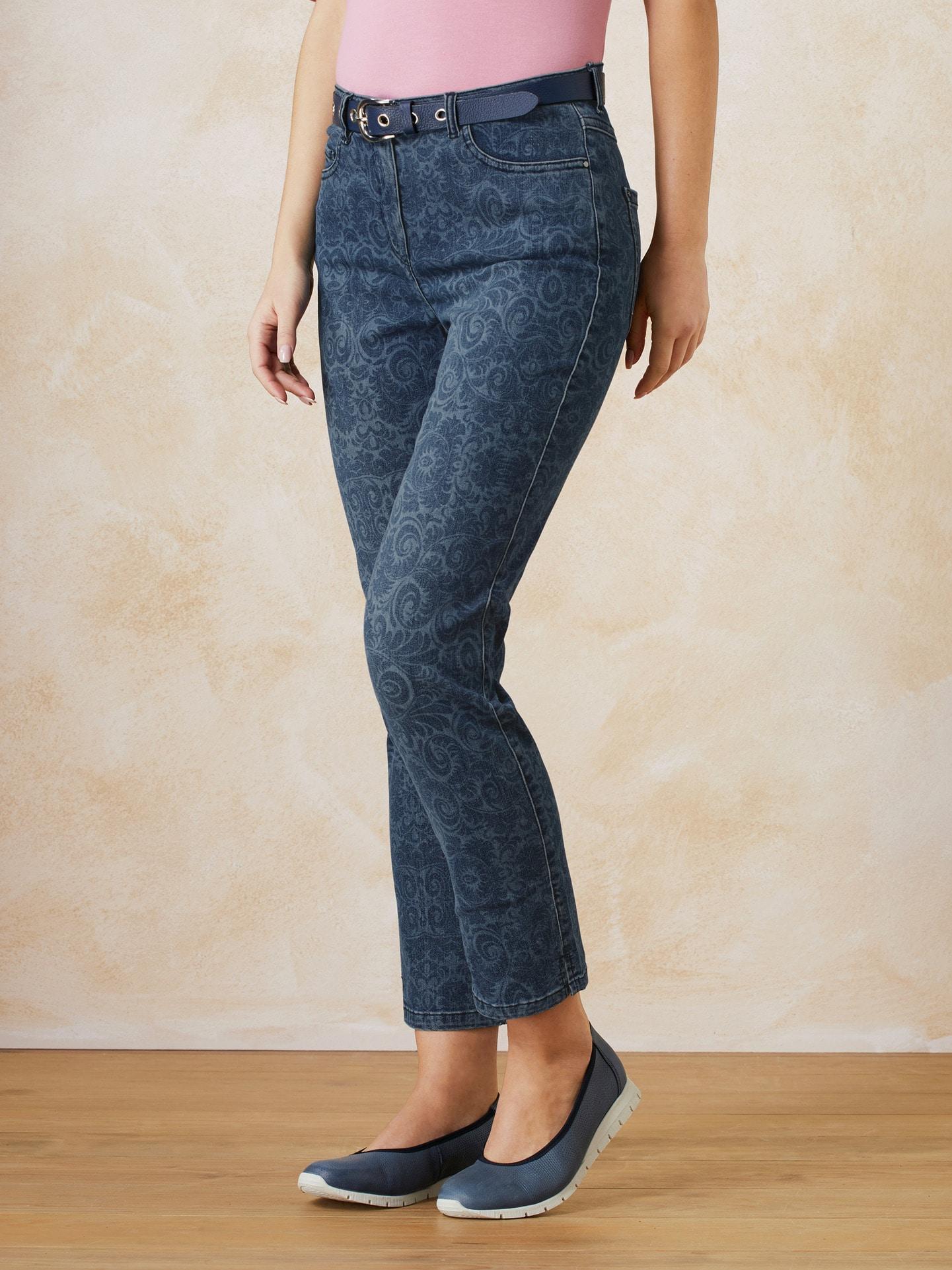 Walbusch Damen 7/8 Jeans Blumenranke Größe 40