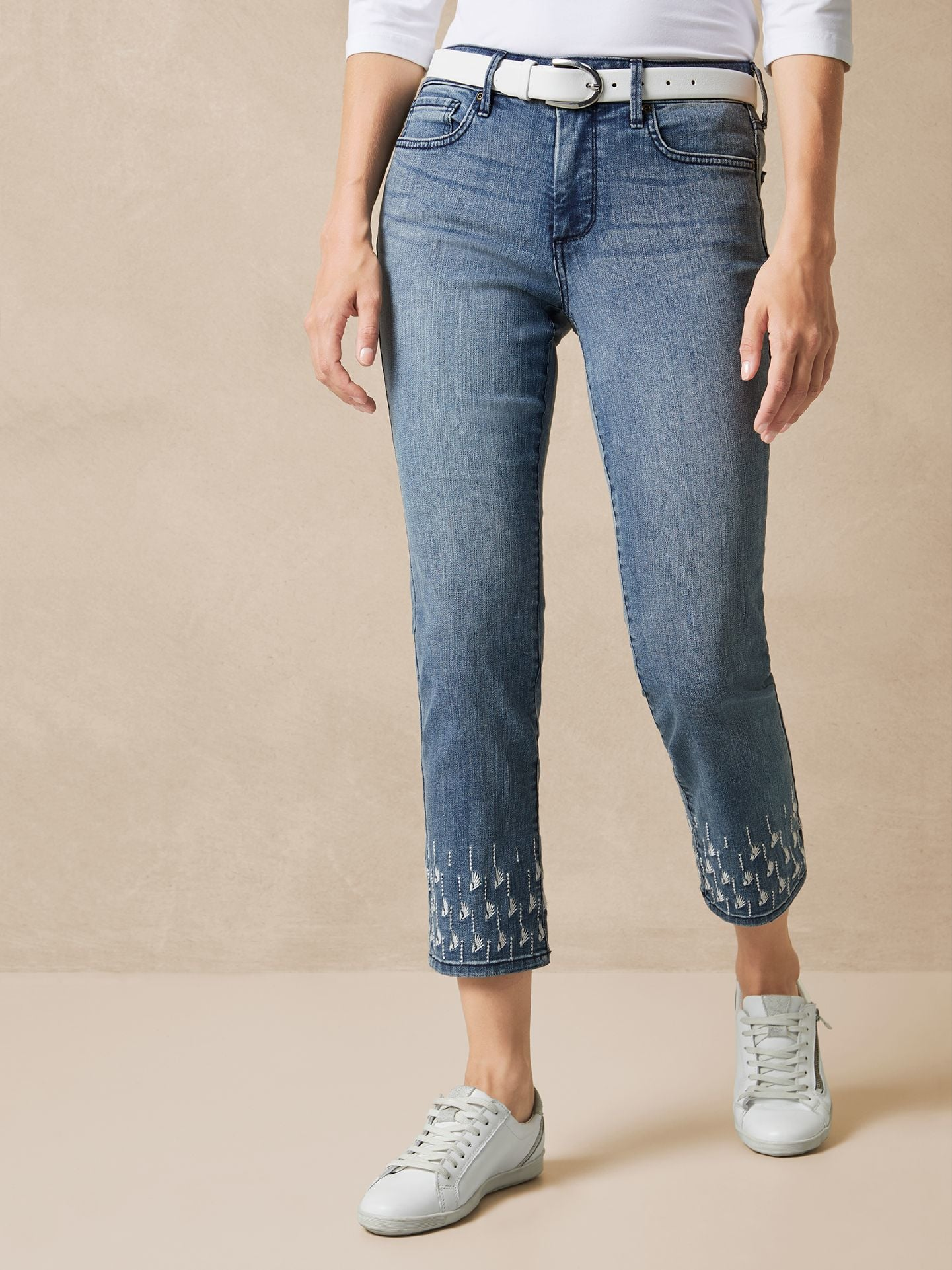 NYDJ Damen Ankle Jeans Stickerei Größe 42